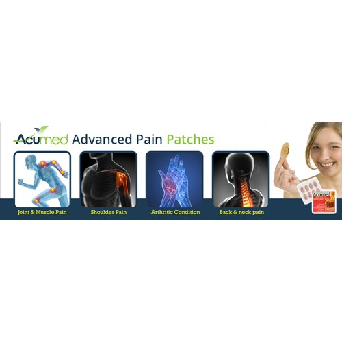 Create a central banner for pain relief patches that conveys effective natural therapy