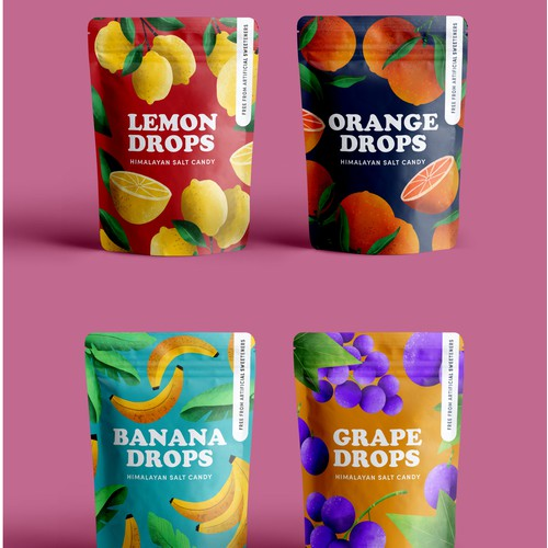 Pouch packaging for a colourful candy