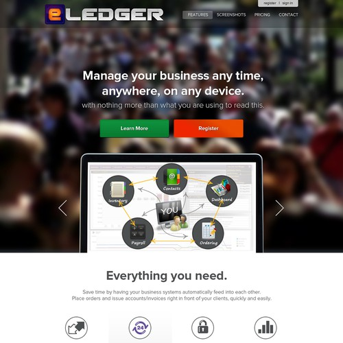 Design an award winning home page for eLEDGER