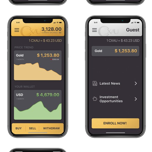 App design for a gold-based cryptocurrency
