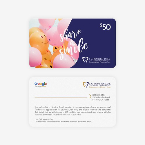 Referral Card for Dental Office