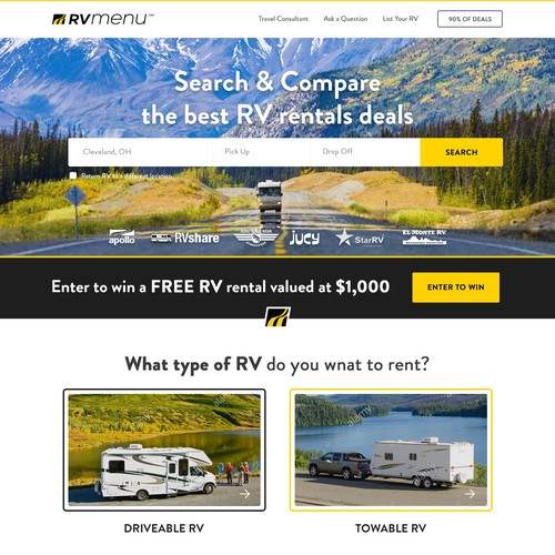 Homepage Design for a Popular RV Rentals Website