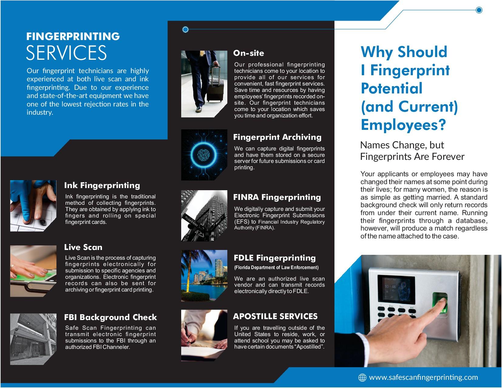 """Design a powerful brochure for Safe Scan Fingerprinting, LLC that sells"""
