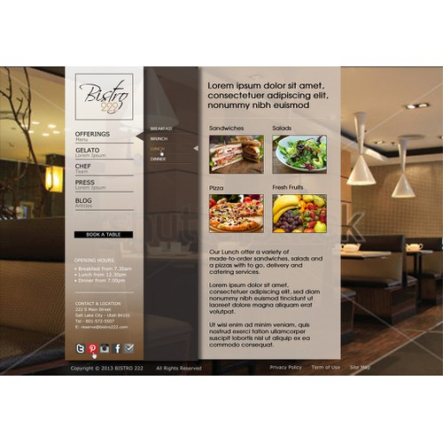 Create the Web Design for Bistro 222