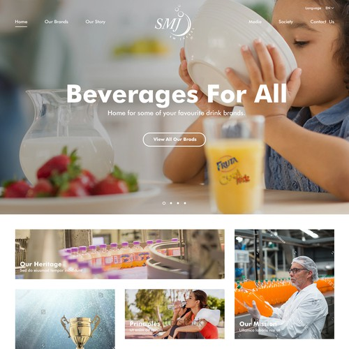 Web design for SMJ Beverage Company