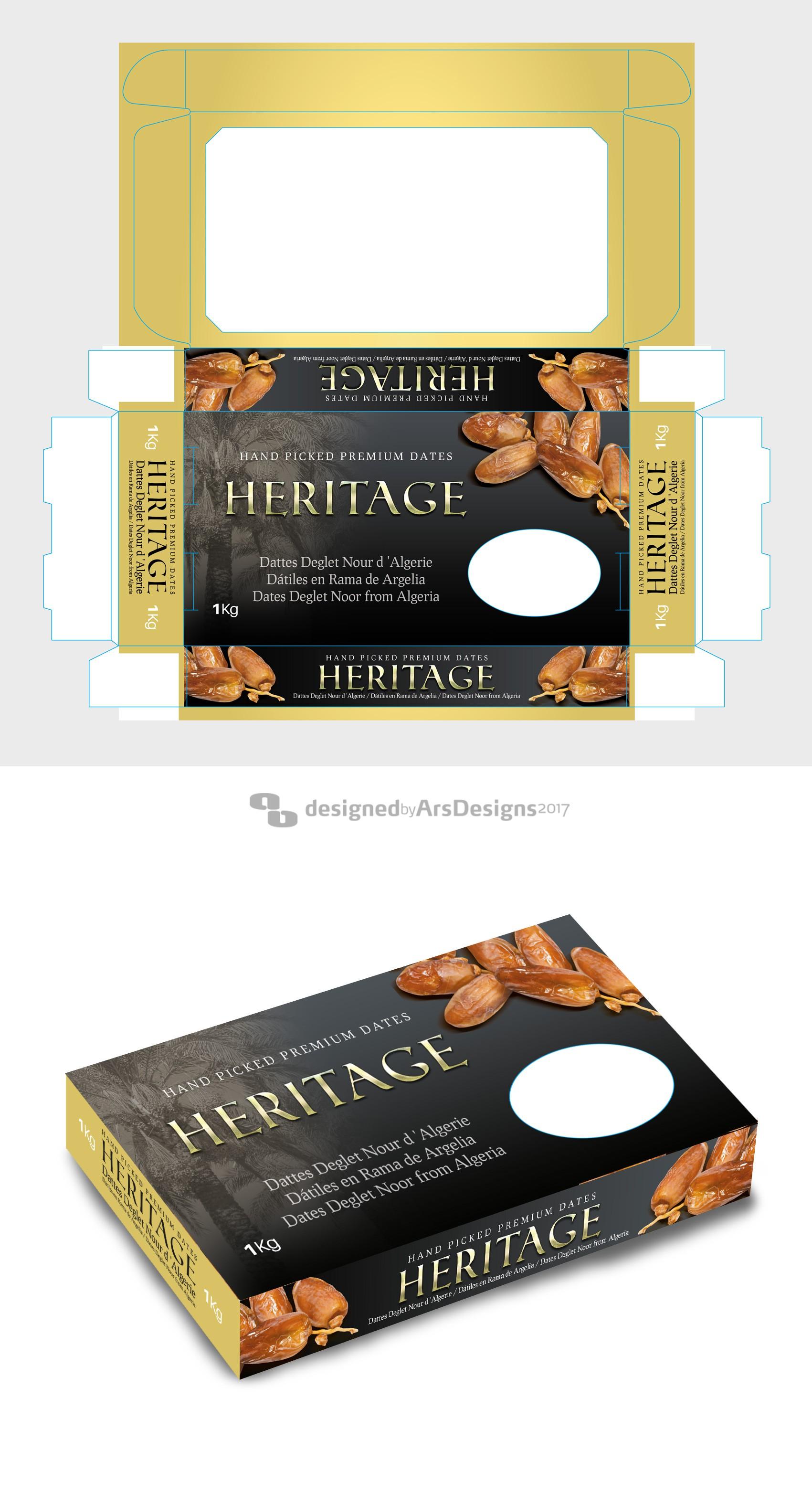 Splendid carton box design for dried dates.