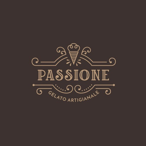 Luxurious + creative logo for a gelato brand