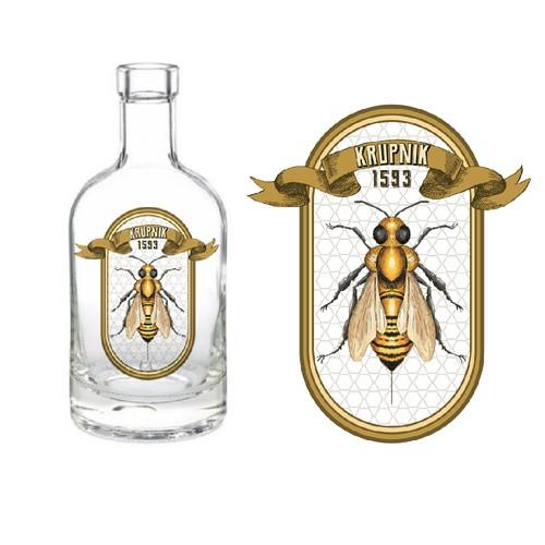 Krupnik bottle label design