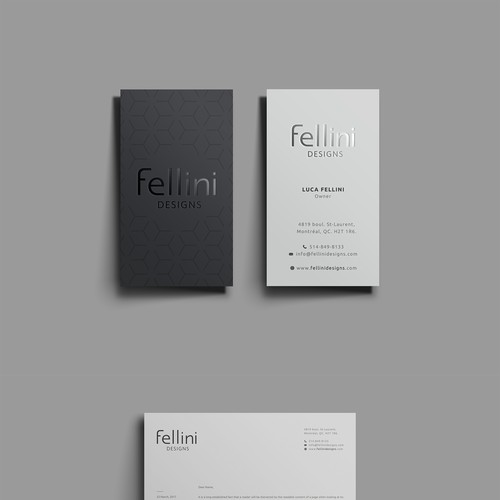 elegant business card for interior design company.