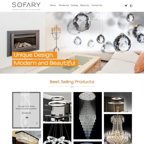 Homepage design for crystal chandelier company
