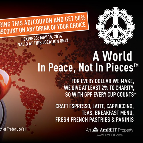 Create an ad for Global Peace Factory Coffee House