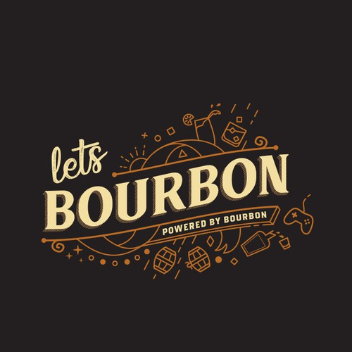 Warm hipster logo for bourbon review blog and game streaming site