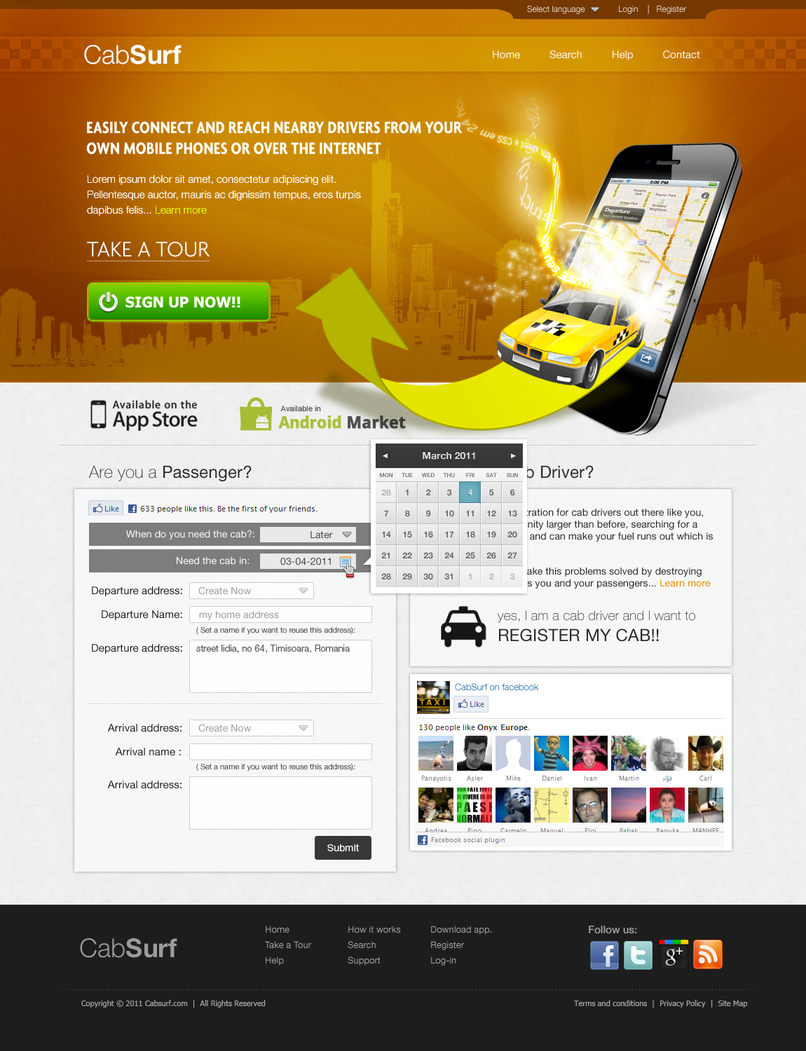 Online Taxi reservation service needs outstanding design