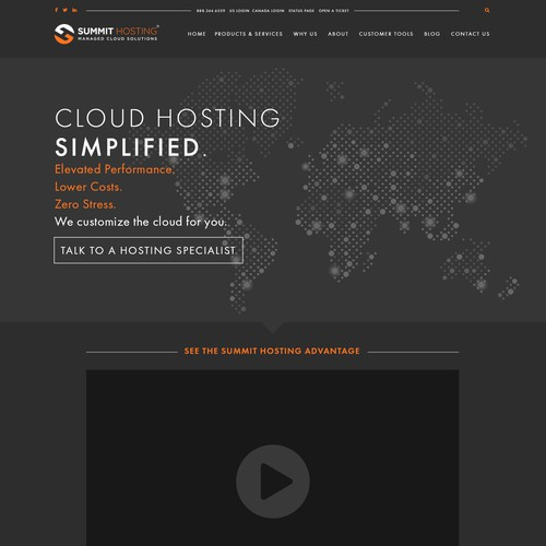 Webpage Design for a Hosting Company