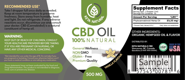 High End CBD Oil Product Label + Box