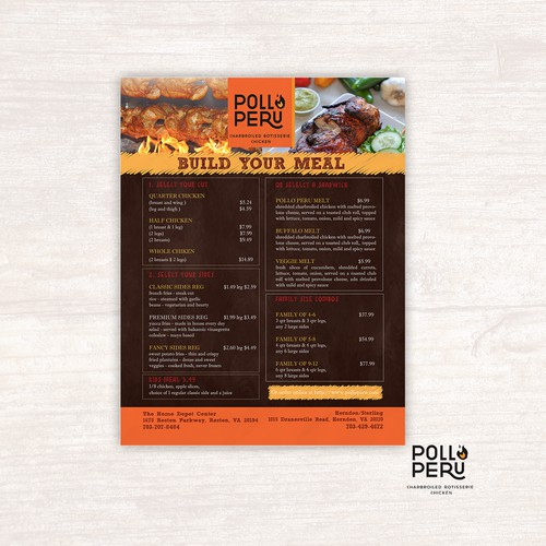 Take out menu for Fast casual restaurant