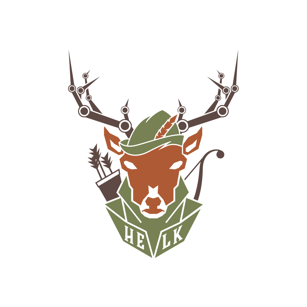 Helk logo with Robin hood cap