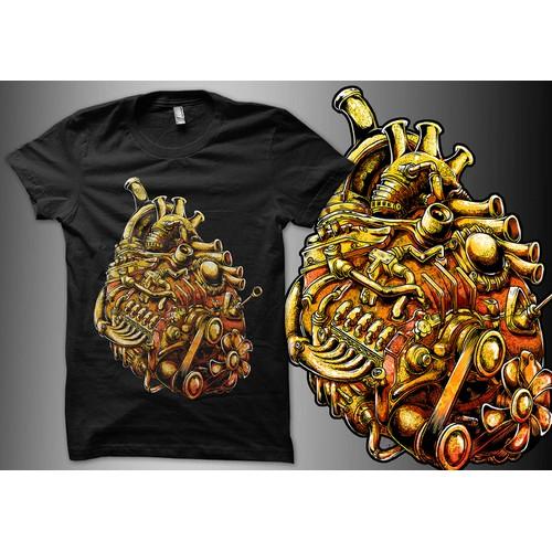 Heart-style car engine T-shirt