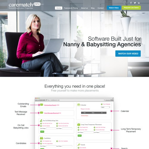 women oriented B2B website design for CareMatchPro