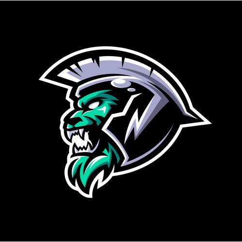 Agressive Lion Spartan Logo
