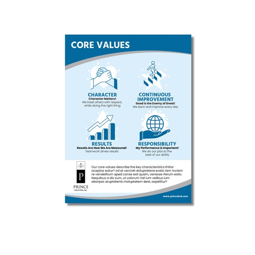 Core Values poster for Prince Industries