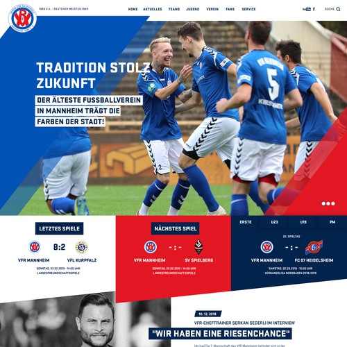 Website design for the soccer club.
