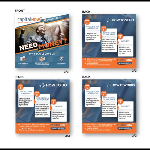 Create a double sided print ad for a financial institution