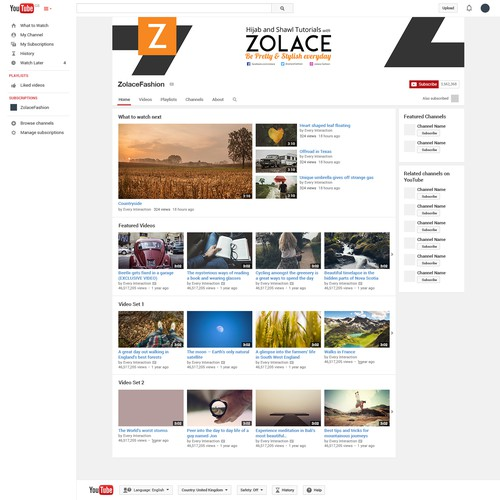Youtube Banner for Zolace Fashion