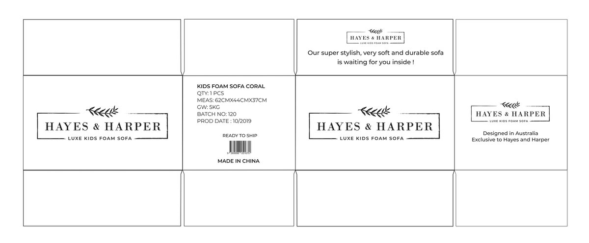 Packaging for Hayes and Harper Foam Sofa - Revision 3
