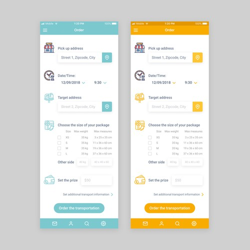 App design for delivery service
