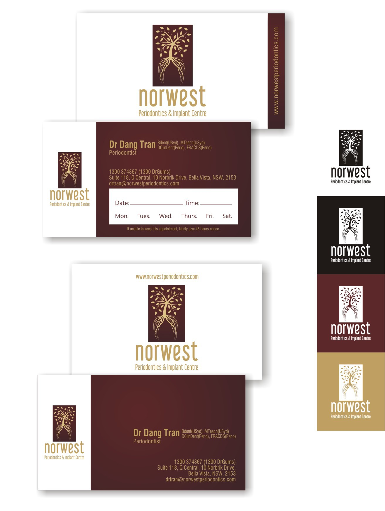 Create the next logo and business card for Norwest Periodontics & Implant Centre