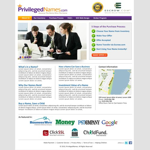 PrivilegedNames.com - Simple Home Page Design