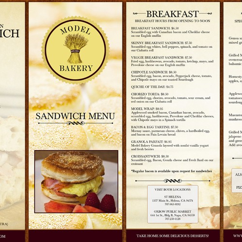 Model Bakery Sandwich Menu