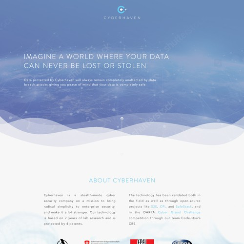 Clean, crisp homepage design for cybersecurity firm