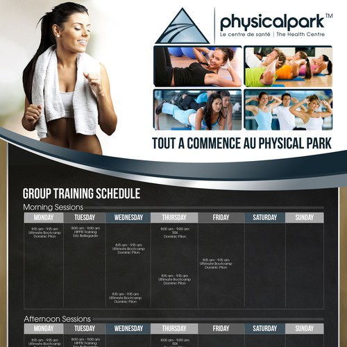 Design a Contemporary luxury  Group Exercise Schedule for Physical Park health centre.