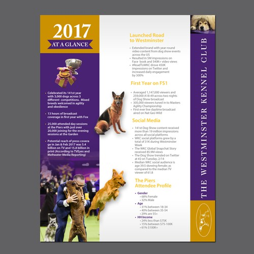 Design a Highlight Sheet for The Westminster Dog Show