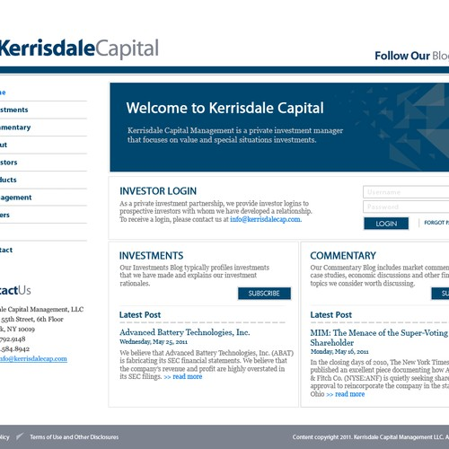 Website design for Kerrisdale Capital