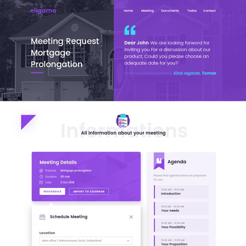 Meeting Schedule Landing page