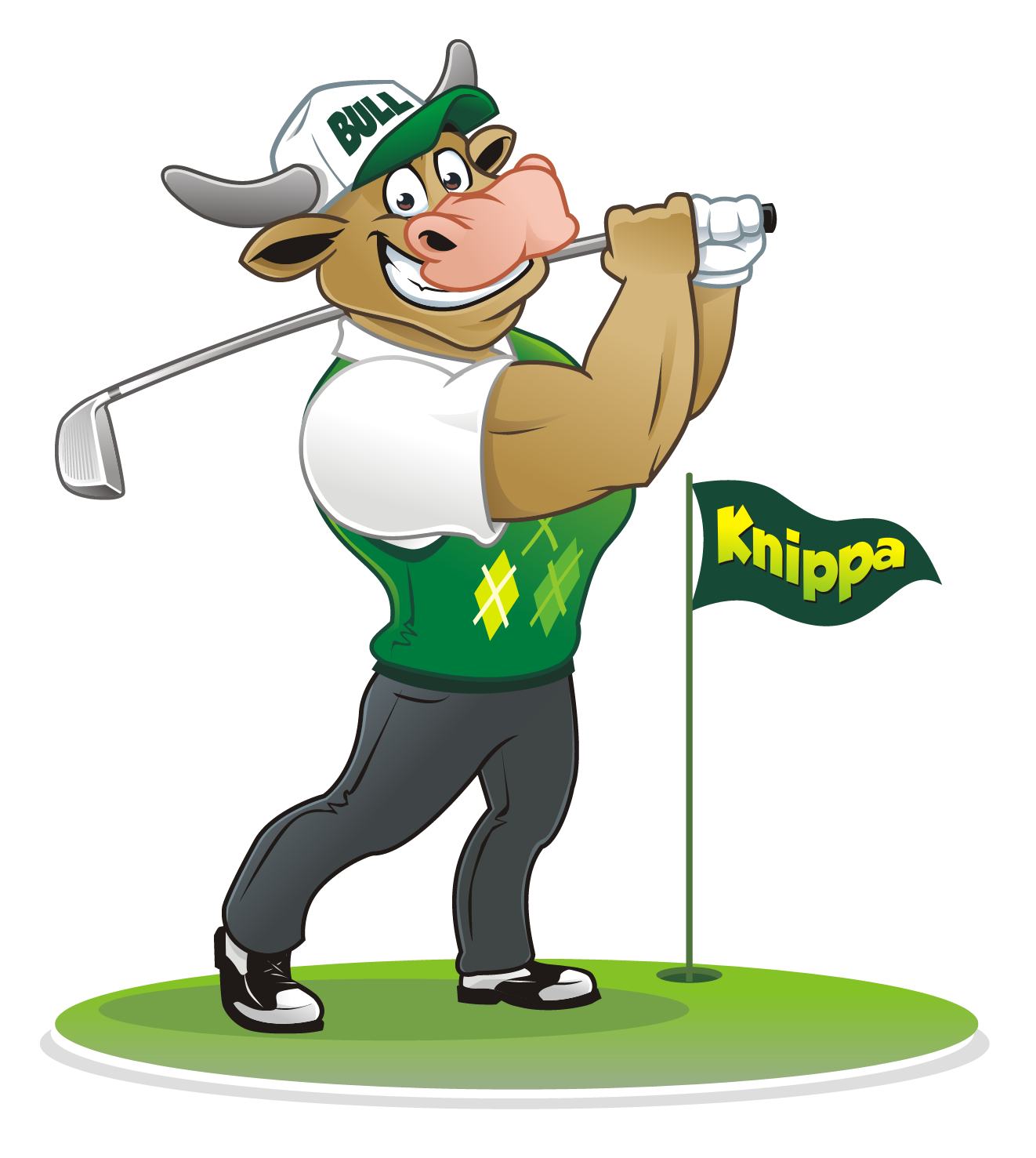 """Design a logo featuring a Bull (animal) and incorporating the name """"Knippa"""" for a monthly golf game"""