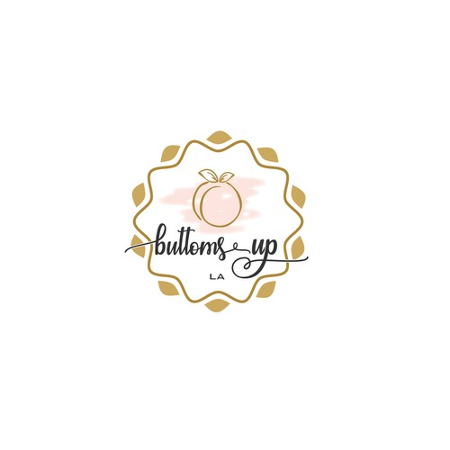 Design a fun logo for a woman's product. Must include a peach . Colors pastel very soft