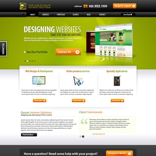 Quasar Internet Solutions needs a new website design