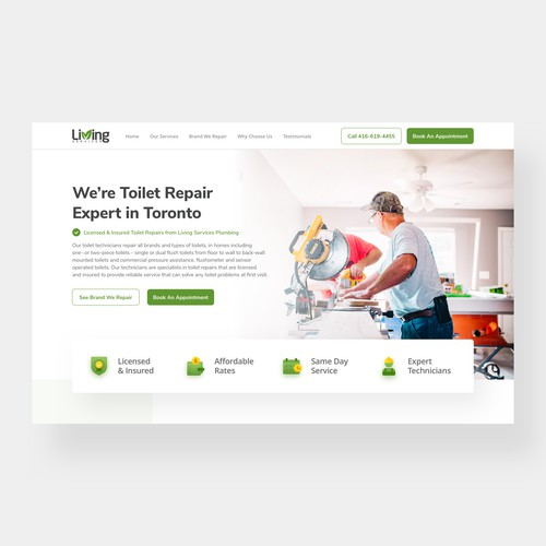 Landing Page Design for Plumbing Company