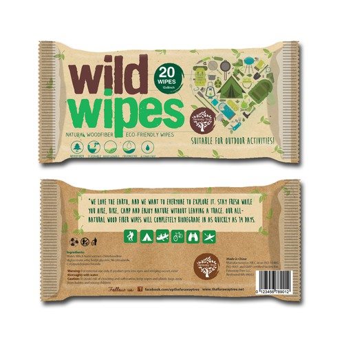 Packaging for Eco Friendly Hiking & Camping Wipes