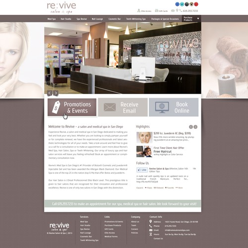 website design for www.revivesalonandspa.com