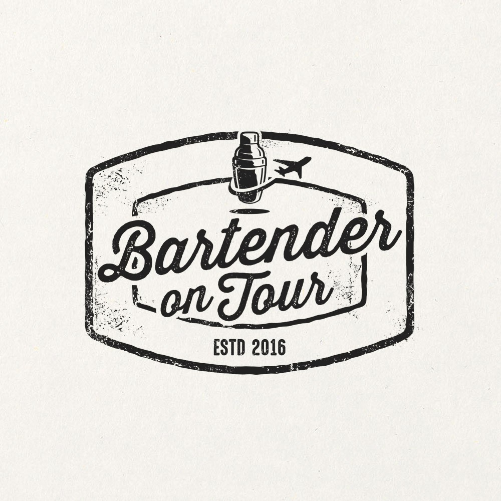 Refined (yet fun) logo for a traveling cocktail bartender.