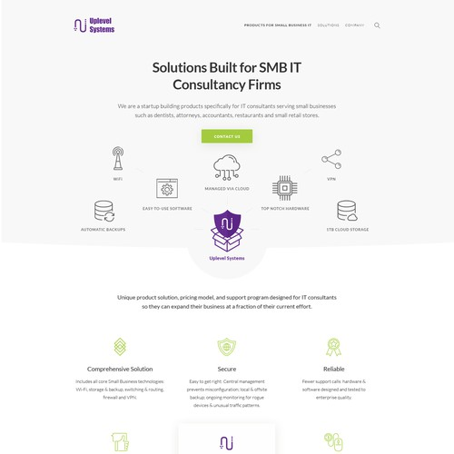 A clean landing page for IT consultancy firm