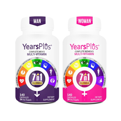 Years Plus Multivitamin Sleeve Design