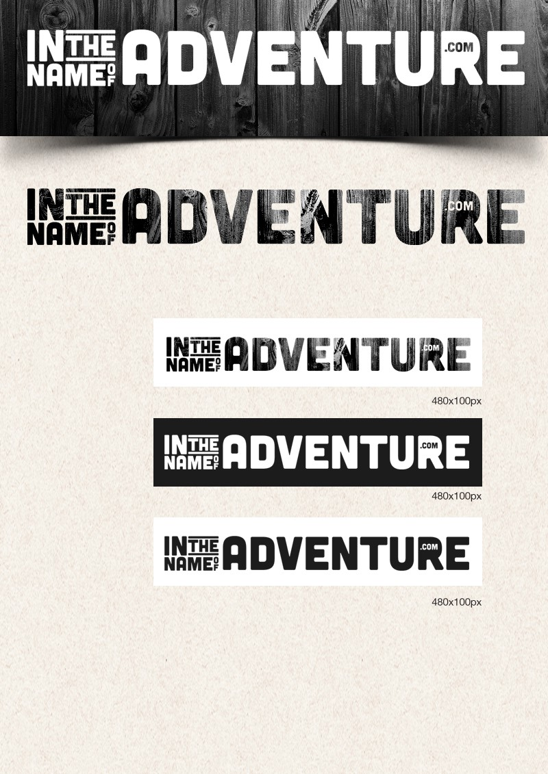 "stylised / textured logo for ""in the name of adventure .com"" (travel blog)"