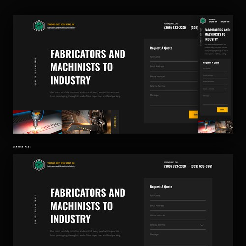 Manufacturing Company Landing Page