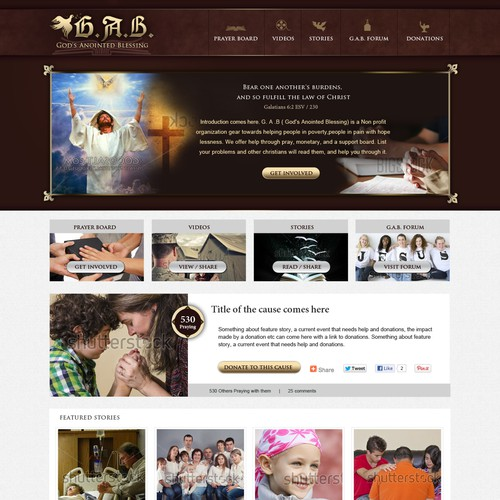 Create the next website design for G. A .B ( God's Anointed Blessing)